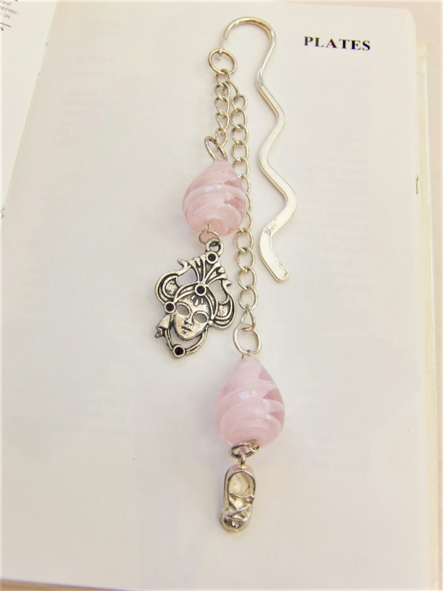 Pink Beaded Bookmark With Silver Masque and Shoe Charms and Pink Beads