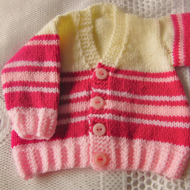 Baby's Hand Knitted Striped Cardigan, Baby Shower Gift, New Baby Gift