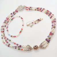 SALE - Pearl & Crystal Bead Jewellery Set With A Swarovski Flower Centre