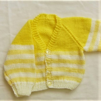 Baby's Knitted Cardigan with Yellow Stripes, Baby Shower Gift, New Baby Gift
