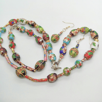 Multi Coloured Cloisonne Bead Jewellery Set, Beaded Jewellery Set