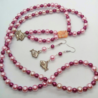 SALE - Pink and Burgundy Pearl Long Necklace and Earrings Jewellery Set