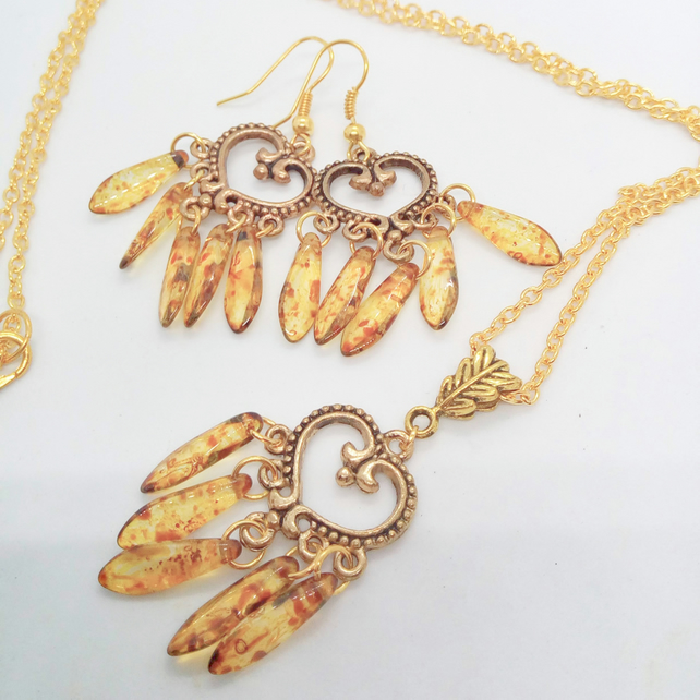 Gold Plated Heart Chandelier Necklace and Earrings Set with Topaz Picasso Drops