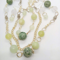Green Jade and Quartz Bead and Chain 3 Piece Jewellery Set, Jade Jewellery
