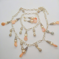 Cream Pearl Peach Mother of Pearl and Silver Plated Chain Jewellery Set