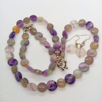 Shades of Purple Fluorite 3 Piece Jewellery Set