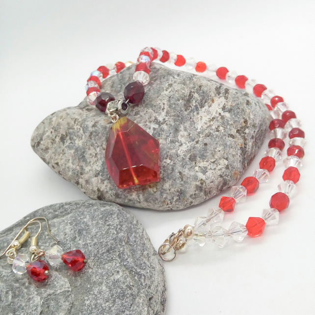 Red and Clear Crystal Jewellery Set With Red Crystal Pendant, Mother's Day Gift