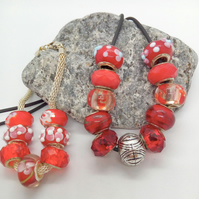 Red Lampwork Bead and Silver Spacer Bead 2 Piece Jewellery Set, Mothers Day Gift
