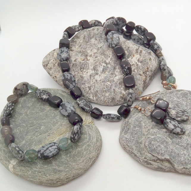 Snowflake Obsidian 3 Piece Jewellery Set, Mothers Day Gift, Valentines Gift