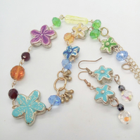 Multi Coloured Flower and Crystal Necklace and Earrings Set