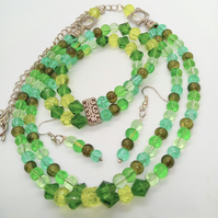 Green Glass Bead Crystal & Chain Jewellery Set, Mother's Day Gift