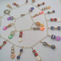 Multi Coloured Mixed Semi Precious Beaded Charm and Silver Chain Jewellery Set