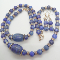 Lapis Lazuli and Silver Spacer Bead 3 Piece Jewellery Set, Birthday Gift