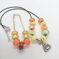 Yellow Lampwork Bead Jewellery Set With Buddha Charm, Mothers Day Gift