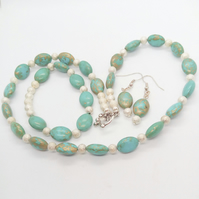 Jewellery Set With Turquoise & Silver Stardust Beads, Jewellery Gift for Her