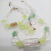 SALE - Green and Yellow Beaded 3 Piece Floral Jewellery Set, Ladies Jewellery