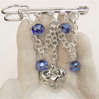Beaded Kilt Pin Brooch with Silver Plated Chain, Heart Charm and Blue Crystals