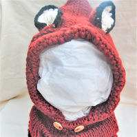 Chunky Winter Hand Knitted Fox Cowl Hood, Novelty Fox Hat, Birthday Gift