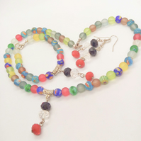 Multi Colour Millefiori Dusky Glass Bead And Crystal Jewellery Set
