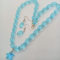 Pale Blue Crystal 2 Piece Jewellery Set With a Glass Starfish Pendant