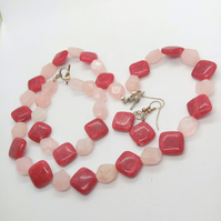 Rose Quartz and Raspberry Bead 3 Piece Jewellery Set