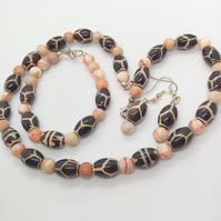 Beaded Jewellery Set Made With Black Tribal Beads and Spider Jasper Beads