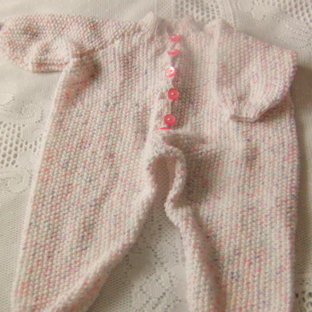 Babies Hand Knitted Play Suit, All in One Pram Suit, New Baby Gift