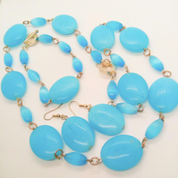 3 Piece Jewellery Set Made with Oval Blue Glass Beads