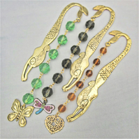 Gold Plated Mermaid Bookmark With a Gold Plated Charm, Choice of Crystal Colour