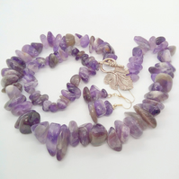 Chunky Purple Amethyst Beaded Jewellery Set, Semi Precious Jewellery Set