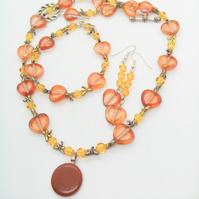 Russet and Topaz Heart and Dragonfly 3 Piece Jewellery Set