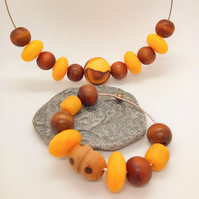 SALE - Brown Wood and Yellow Acrylic Bead Jewellery Set, 2 Piece Jewellery Set