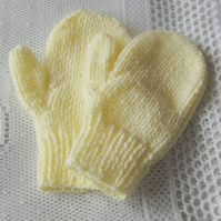 Children's Yellow Mittens with Thumbs, Children's Knitted  Mittens