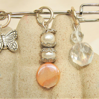 Kilt Pin with Mother of Pearl Crystal & Pearl Beaded Charms & a Butterfly Charm