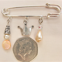 Kilt Pin Brooch with Pearl and Mother of Pearl Beaded Charms and a Crown Charm
