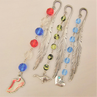 Silver Feather Bookmark with Glass Crystals and a Choice of Charm,
