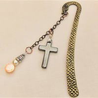 Dragon Bookmark With Pearl & Mother of Pearl Charm And Haematite Cross Charm
