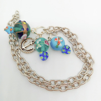 Beaded Silver Chain Bookmark with Blue Lampwork Beads & Silver Plated Charm