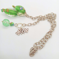 Green Lampwork Beaded Silver Chain Bookmark with Silver Plated Flag Charm