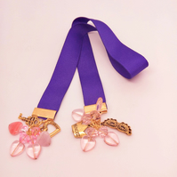 Purple Ribbon Beaded Bookmark with Pink Hearts & Crystals & Gold Plated Charms