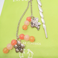 Silver Fish Bookmark with Shades of Honey Beads & Silver Bee and Flower Charms