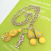 Yellow Beaded Silver Chain Bookmark with Silver Plated Cartoon Girl Charm