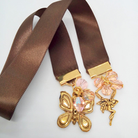Chocolate Brown Ribbon Beaded Bookmark with Pink Crystals & Gold Plated Charms