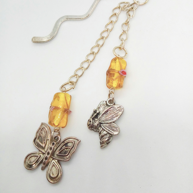 Silver Bookmark With Amber Lampwork Beads and Silver Butterfly and Bee Charms