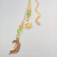 Beaded Gold Bookmark With Lemon & Lime Beads and Moon and Star Charms