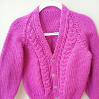 Cabled Cardigan Hand Knitted in Chunky Yarn for a Child, Children's Gift Idea
