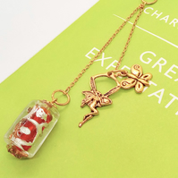 Beaded Bookmark With Red Bead and Gold Fairy and Butterfly Charms