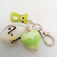 Green Glass Owl and Ceramic Heart Bead and White Lampwork Bead Bag Charm