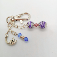 Purple Agate and Blue Crystal Hand Bag Charm with a Silver Gondola Charm