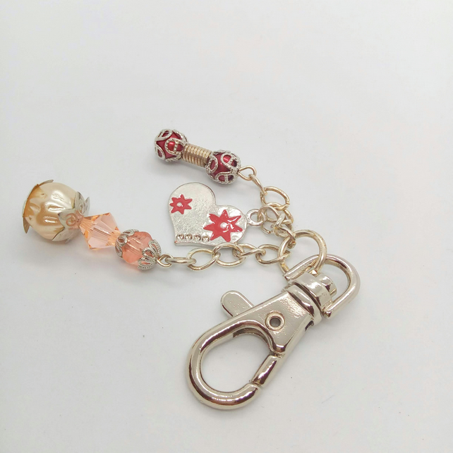 Beaded Hand Bag Charm with Pink Crystal Red Pearl & an Enamelled Heart Charm